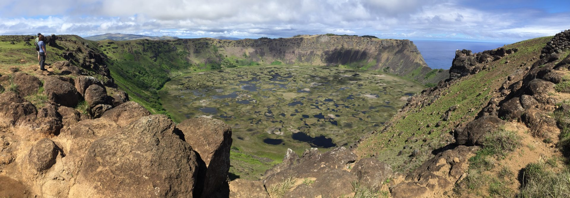 The Rano Kau crater on Easter Island, Chile (photo credit Alison Adams)