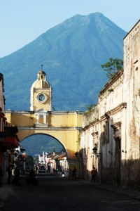 Antigua Guatemala with Volcan de Agua volcano in the background