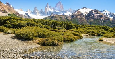 El Chalten River with Mt. Fitz Roy in the background