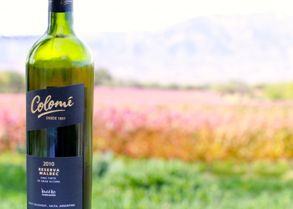 A bottle of Reserva Malbec with the vineyards of Colomé in fall color