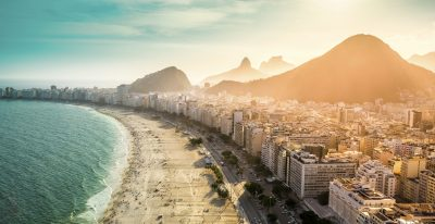 Aerial view of famous Copacabana Beach in Rio de Janeiro, Brazil