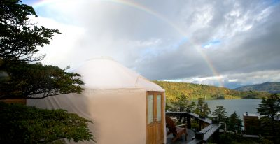Patagonia Camp_rainbow over yurt