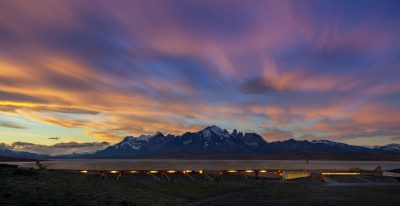 Tierra Patagonia - sunset over the hotel