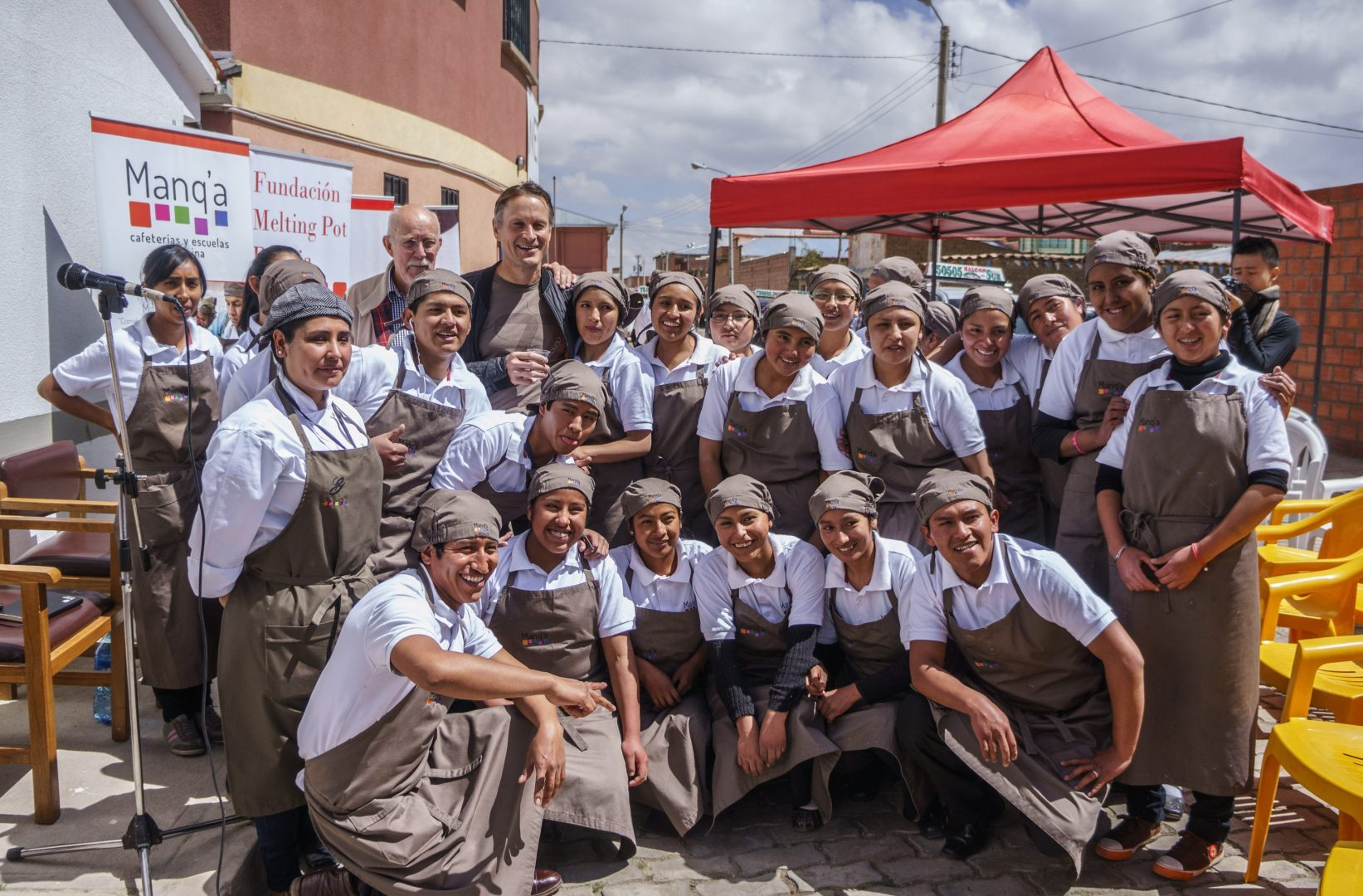Claus Meyer and student chefs (photo credit Gustu)