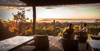 Galapagos Safari Camp_sunset cocktails at the viewpoint platform
