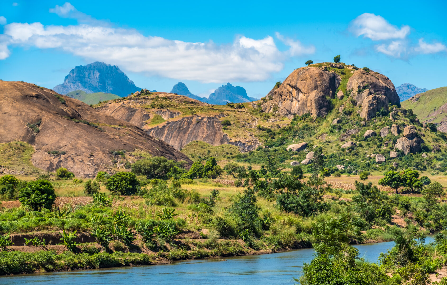 Mesmerizing landscapes along the National Route 7 between Ambalavao and Isalo, Madagascar