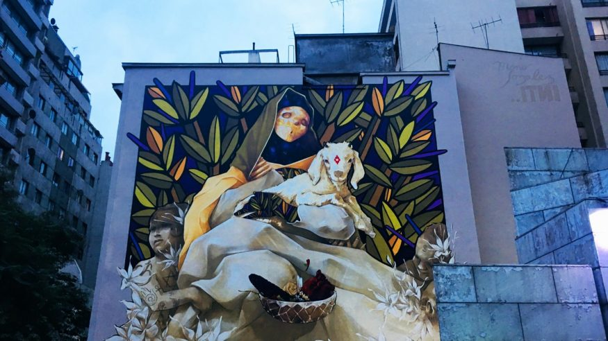 INTI's Mary with lamb mural