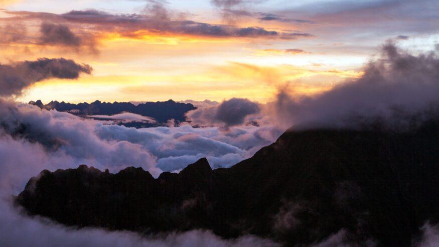 Evening sunset cloudscape view from Peruvian Andes Choquequirao trek Peru