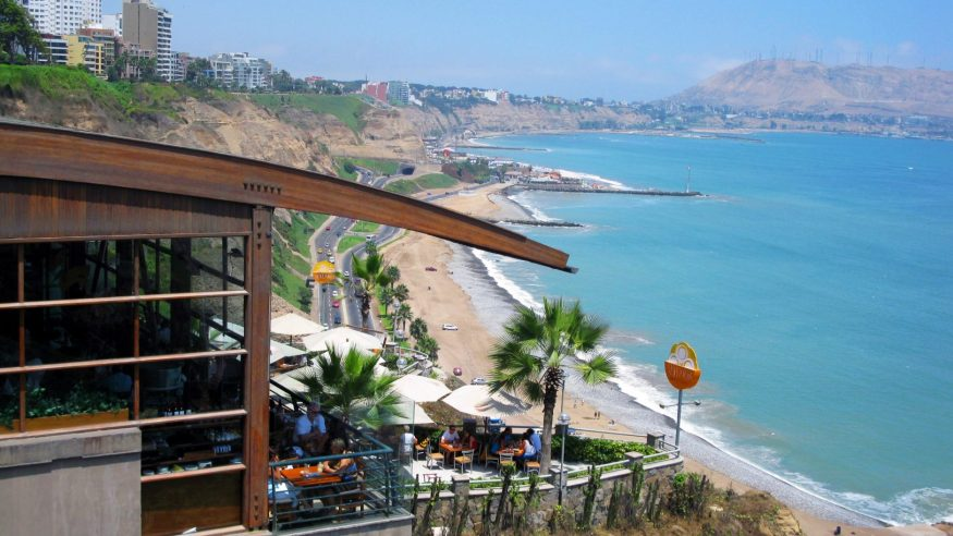 Restaurant on the cliff overlooking Lima's coastline