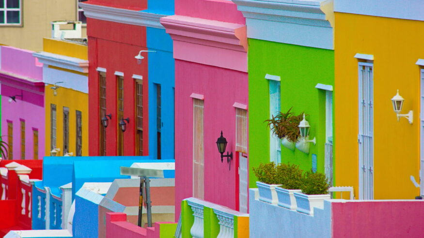 In Cape Town, South Africa the Bo-Kaap neighborhood has residential homes painted in a variety of bright colors.