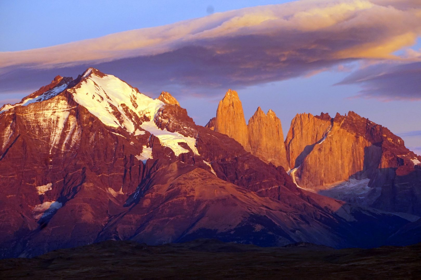 The otherworldly Torres del Paine at dawn