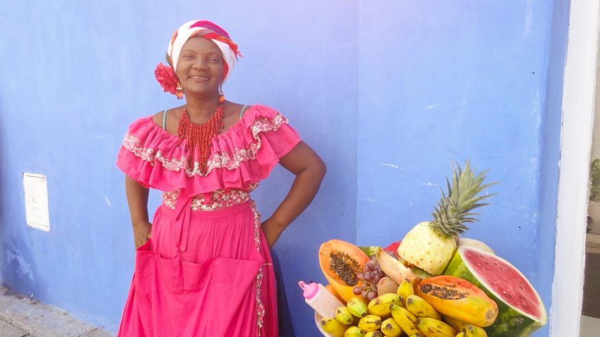 Colombia - Cartagena - Local Woman Selling Fruit